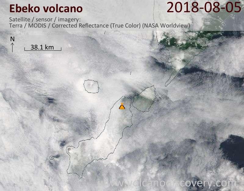 Satellite image of Ebeko volcano on  5 Aug 2018