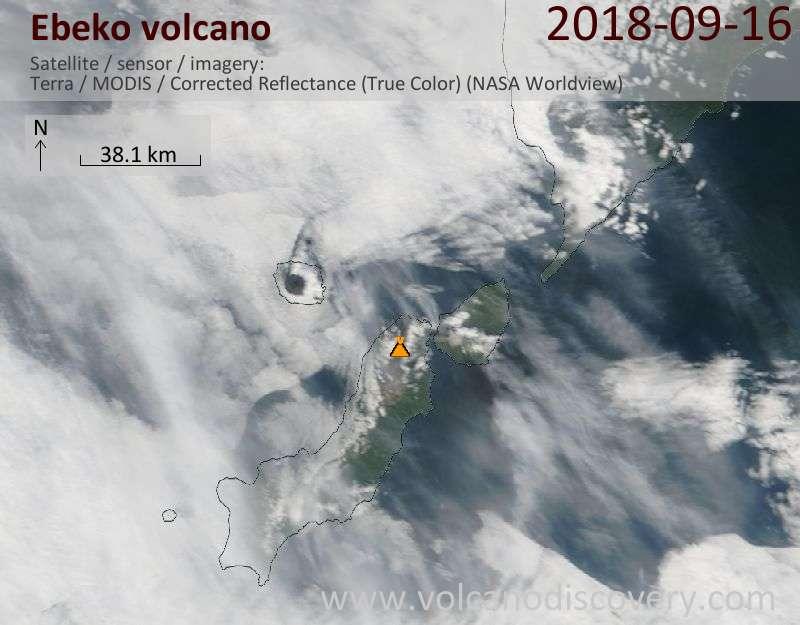 Satellite image of Ebeko volcano on 16 Sep 2018