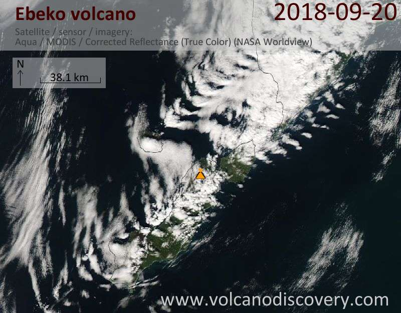 Satellite image of Ebeko volcano on 20 Sep 2018