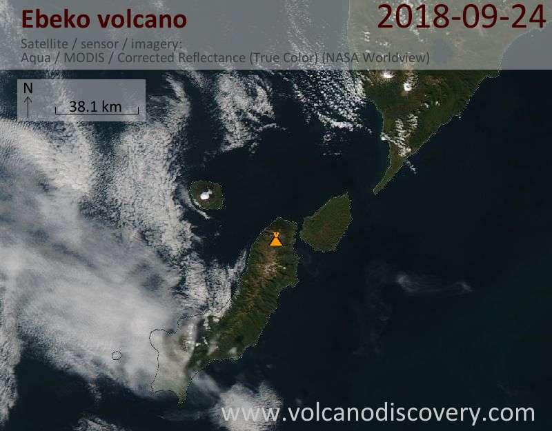 Satellite image of Ebeko volcano on 24 Sep 2018