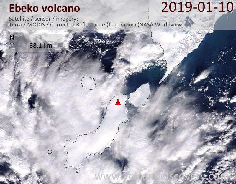 Satellite image of Ebeko volcano on 10 Jan 2019