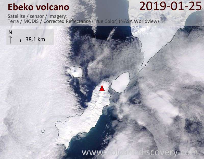 Satellite image of Ebeko volcano on 25 Jan 2019