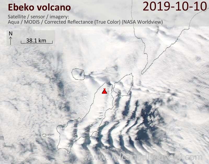Satellite image of Ebeko volcano on 10 Oct 2019