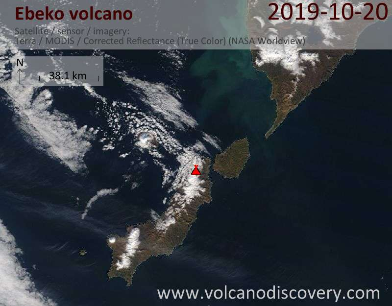Satellite image of Ebeko volcano on 20 Oct 2019