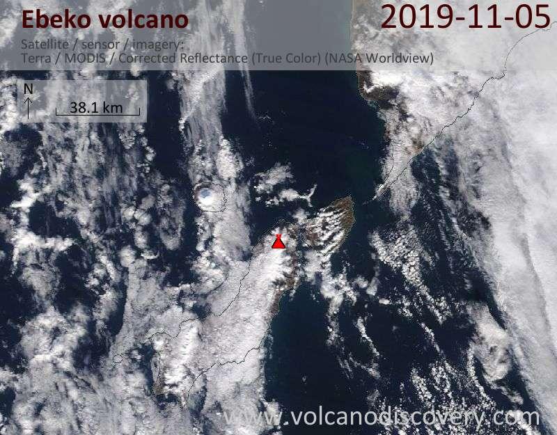 Satellite image of Ebeko volcano on  5 Nov 2019