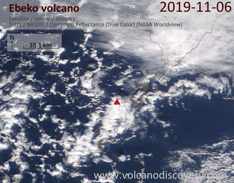 Satellite image of Ebeko volcano on  6 Nov 2019