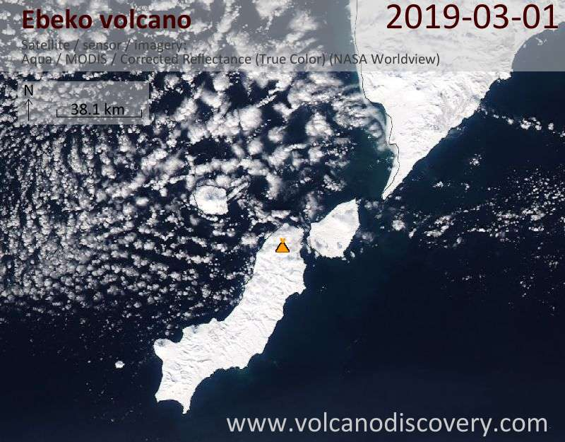Satellite image of Ebeko volcano on  1 Mar 2019