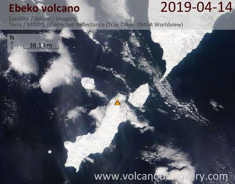 Satellite image of Ebeko volcano on 14 Apr 2019
