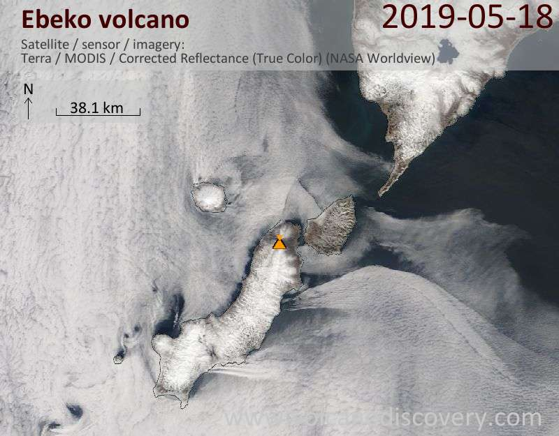 Satellite image of Ebeko volcano on 18 May 2019