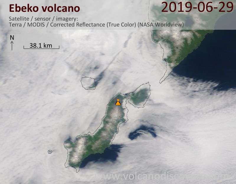 Satellite image of Ebeko volcano on 29 Jun 2019
