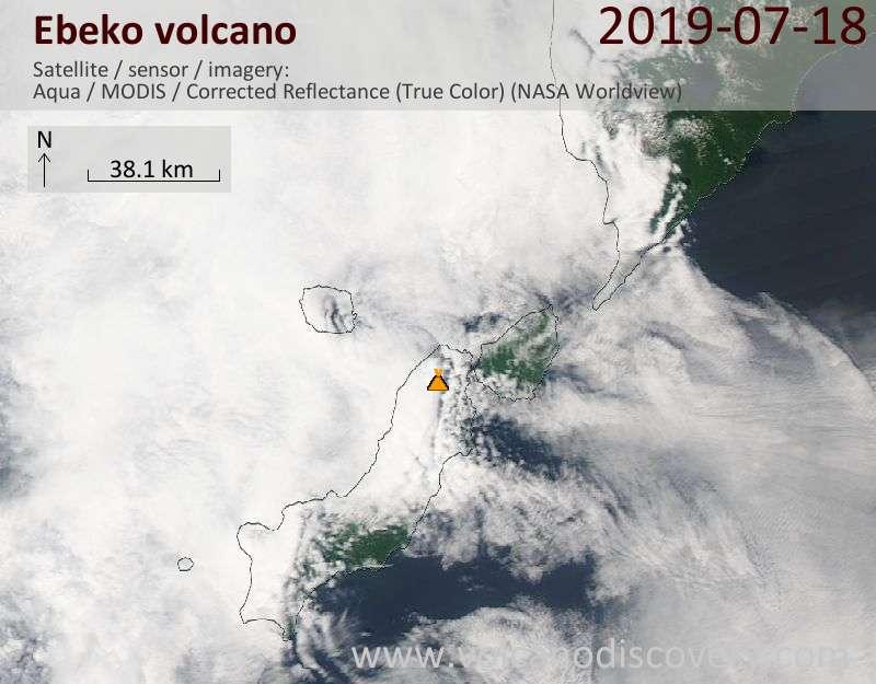 Satellite image of Ebeko volcano on 18 Jul 2019