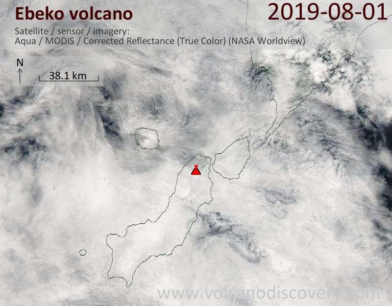 Satellite image of Ebeko volcano on  1 Aug 2019