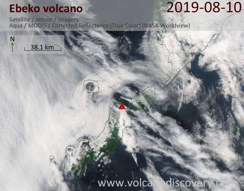 Satellitenbild des Ebeko Vulkans am 11 Aug 2019