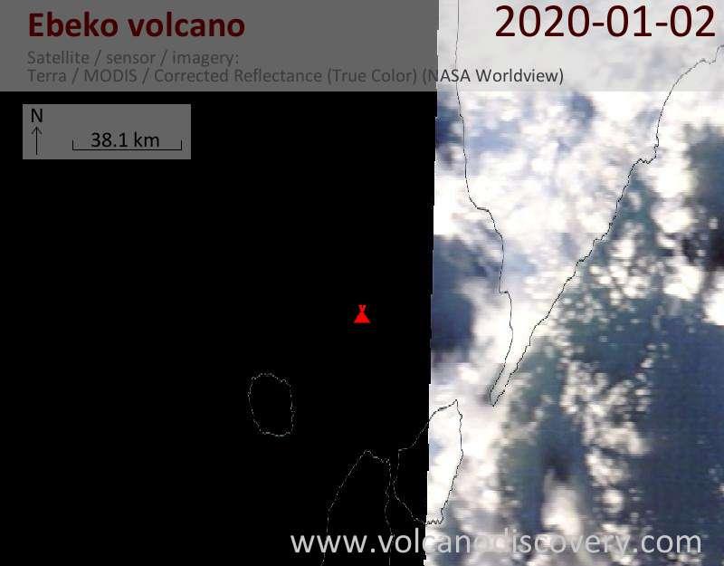 Satellite image of Ebeko volcano on  2 Jan 2020