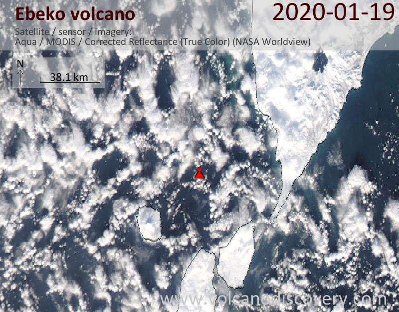 Satellitenbild des Ebeko Vulkans am 20 Jan 2020