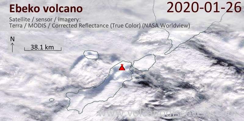Satellitenbild des Ebeko Vulkans am 26 Jan 2020