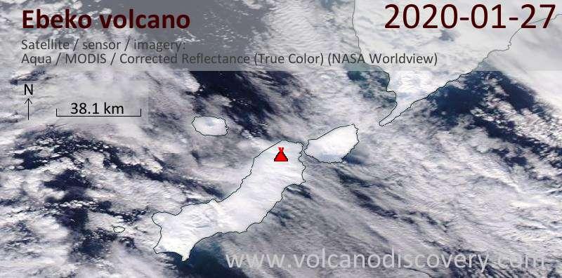 Satellite image of Ebeko volcano on 27 Jan 2020