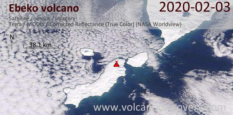 Satellitenbild des Ebeko Vulkans am  3 Feb 2020