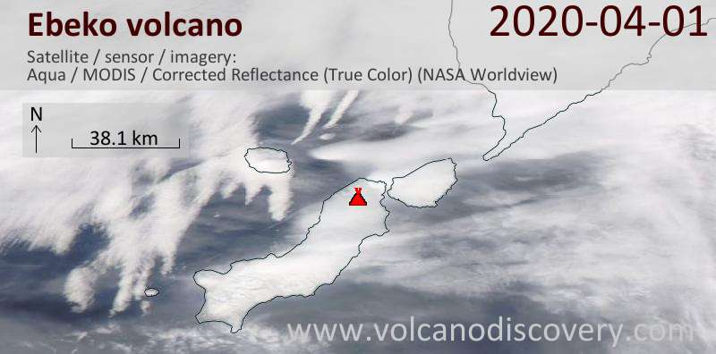 Satellite image of Ebeko volcano on  1 Apr 2020