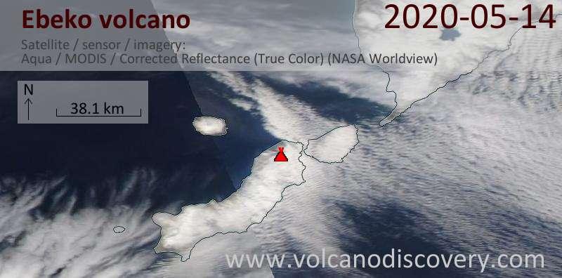 Satellite image of Ebeko volcano on 14 May 2020