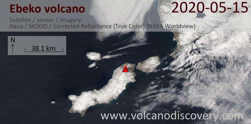 Satellite image of Ebeko volcano on 15 May 2020