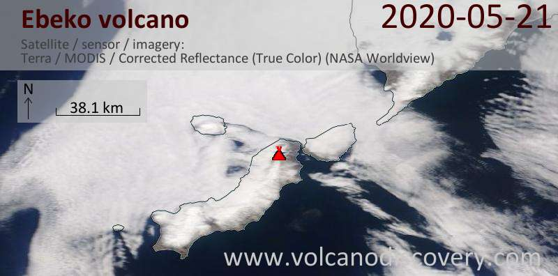Satellite image of Ebeko volcano on 21 May 2020