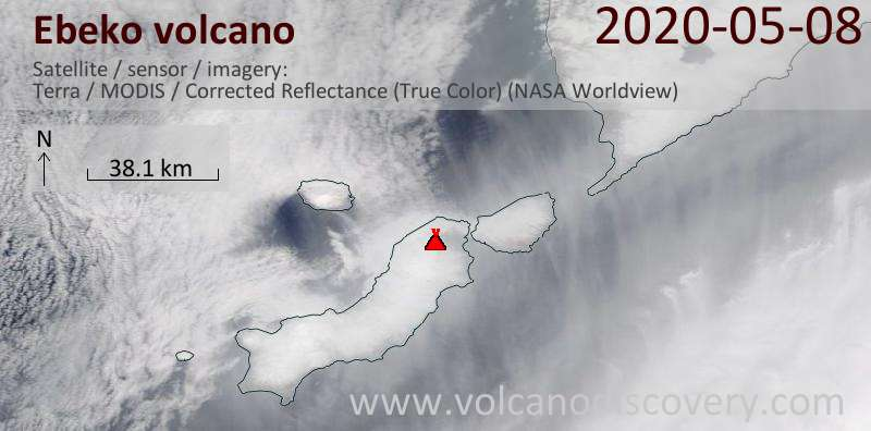 Satellite image of Ebeko volcano on  8 May 2020