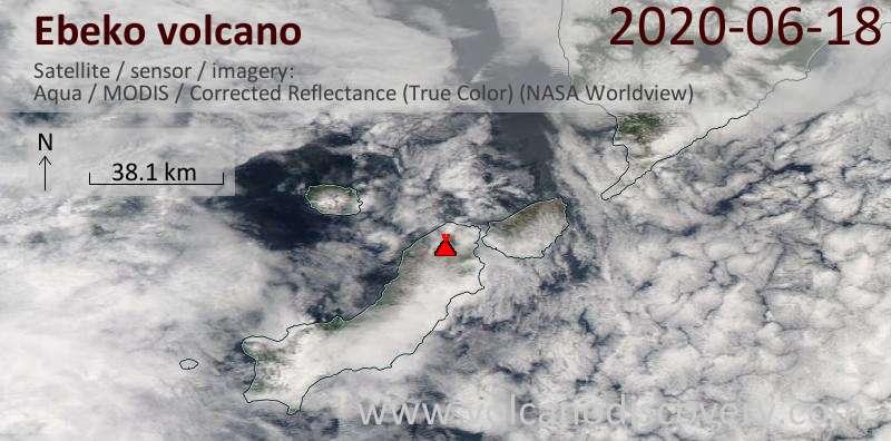 Satellite image of Ebeko volcano on 18 Jun 2020