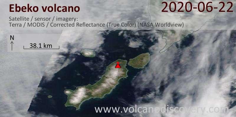 Satellite image of Ebeko volcano on 22 Jun 2020