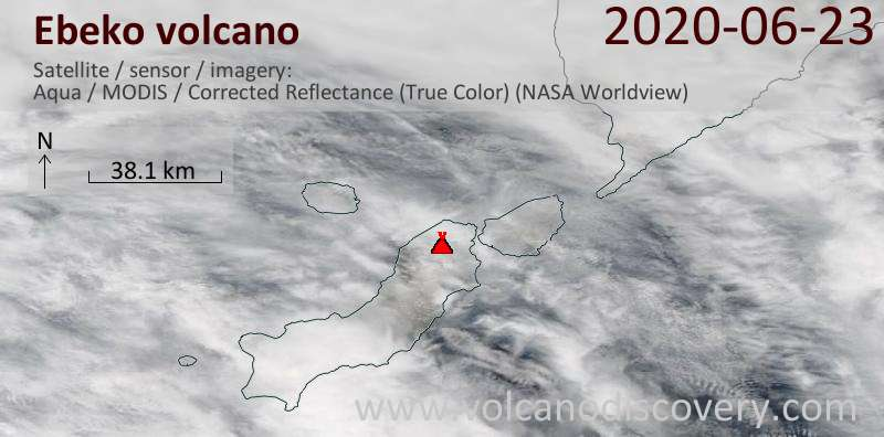 Satellite image of Ebeko volcano on 23 Jun 2020