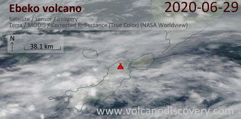 Satellite image of Ebeko volcano on 29 Jun 2020