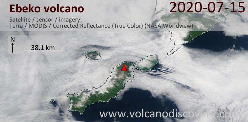 Satellite image of Ebeko volcano on 15 Jul 2020