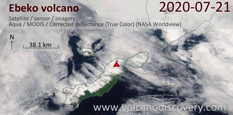 Satellite image of Ebeko volcano on 22 Jul 2020