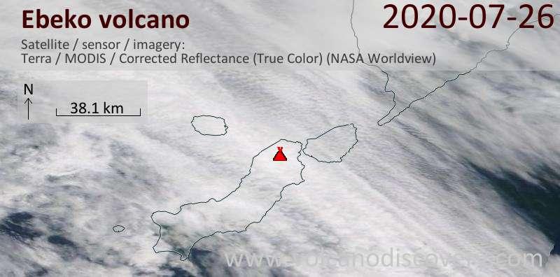 Satellite image of Ebeko volcano on 26 Jul 2020