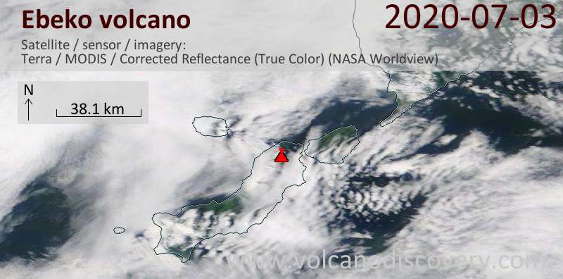 Satellite image of Ebeko volcano on  3 Jul 2020