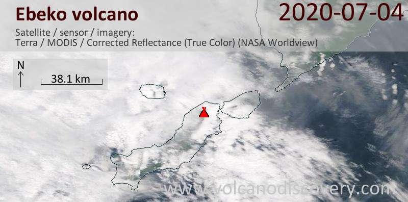 Satellite image of Ebeko volcano on  4 Jul 2020