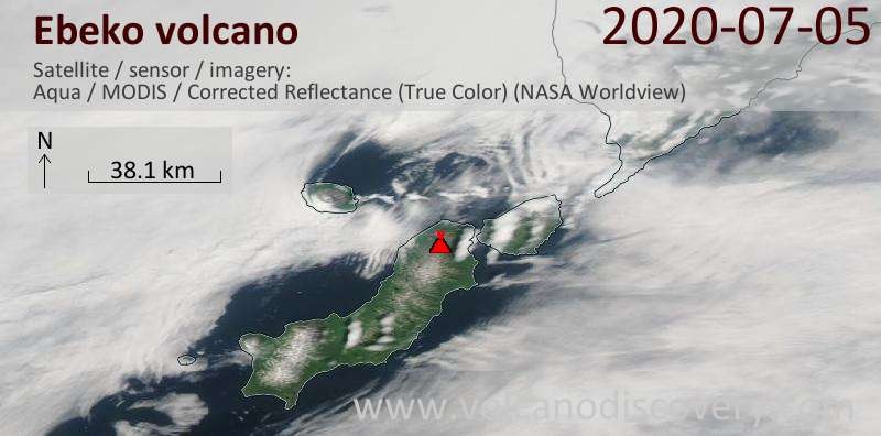 Satellite image of Ebeko volcano on  6 Jul 2020