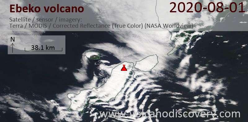 Satellite image of Ebeko volcano on  1 Aug 2020