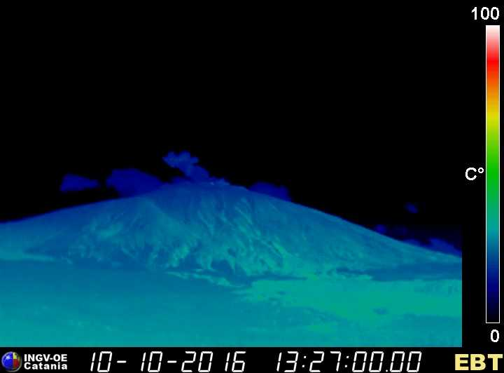 Thermal image (view from Bronte) of the explosion at Bocca Nuova crater (INGV Catania)