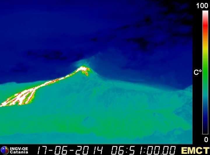 Потоки лавы из Этны в новый SE кратера видно на тепловой веб-камеру на Монте Cagliato (INGV катания) сегодня утром