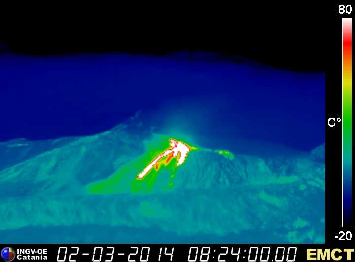 Lava flows at Enta this morning (Monte Cagliato thermal webcam, INGV Catania)