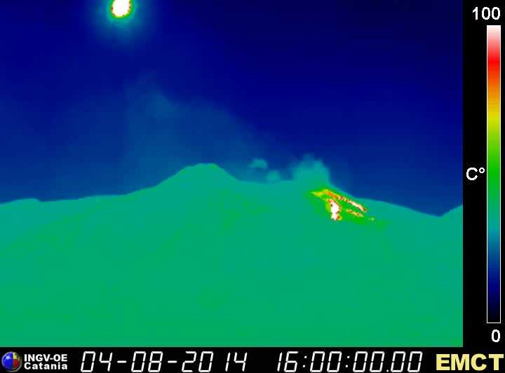 Thermal image of Etna's active lava flows from the effusive vent at the base of the NE crater (Monte Cagliato thermal webcam, INGV Catania)