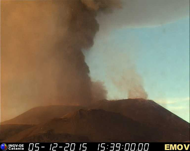 Lava fountain and ash plume from Voragine