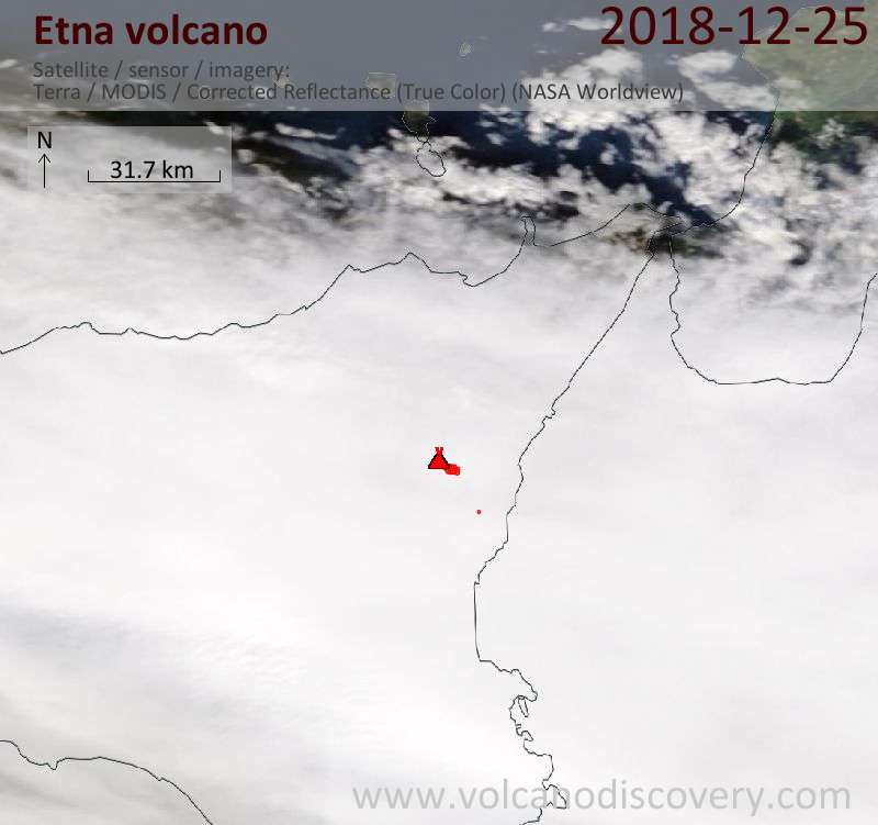 Satellite image of Etna volcano on 25 Dec 2018