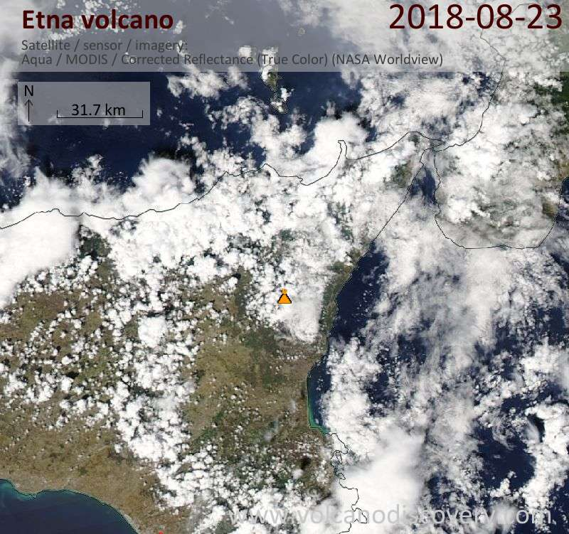 Satellite image of Etna volcano on 23 Aug 2018