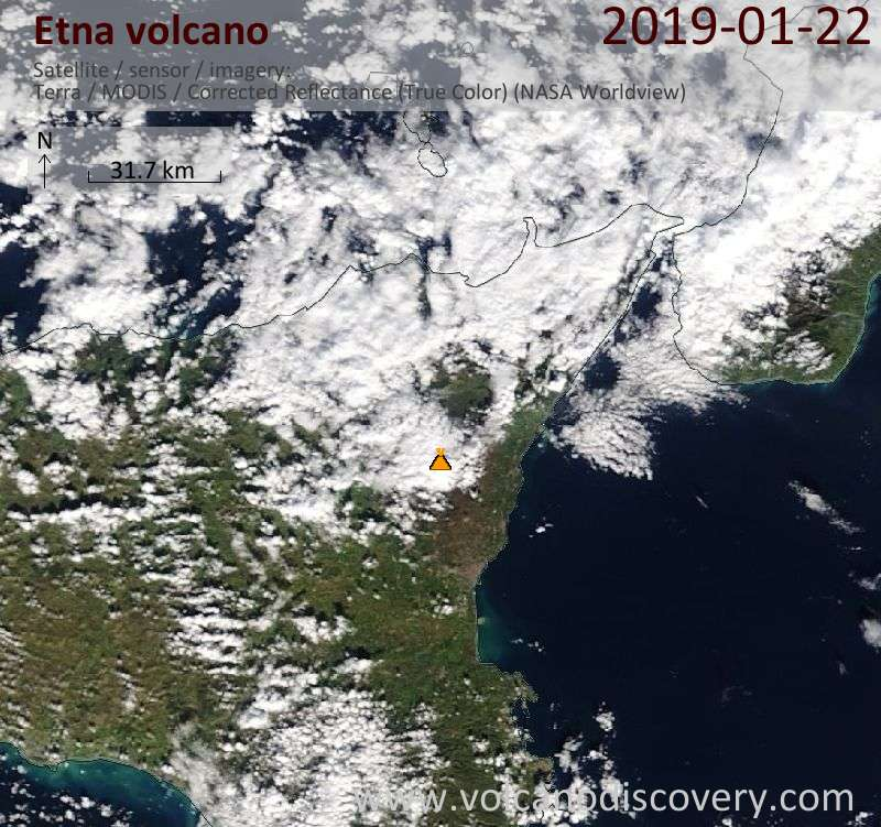 Satellite image of Etna volcano on 22 Jan 2019