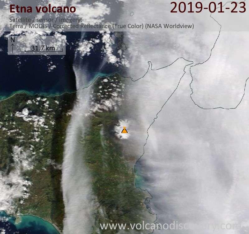 Satellitenbild des Etna Vulkans am 23 Jan 2019