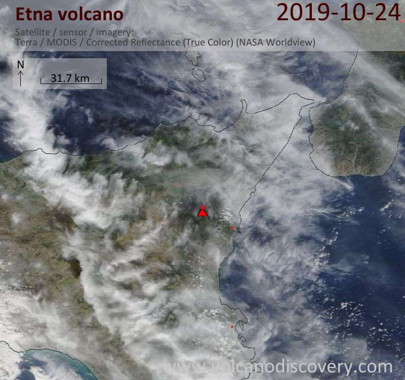 Satellite image of Etna volcano on 24 Oct 2019
