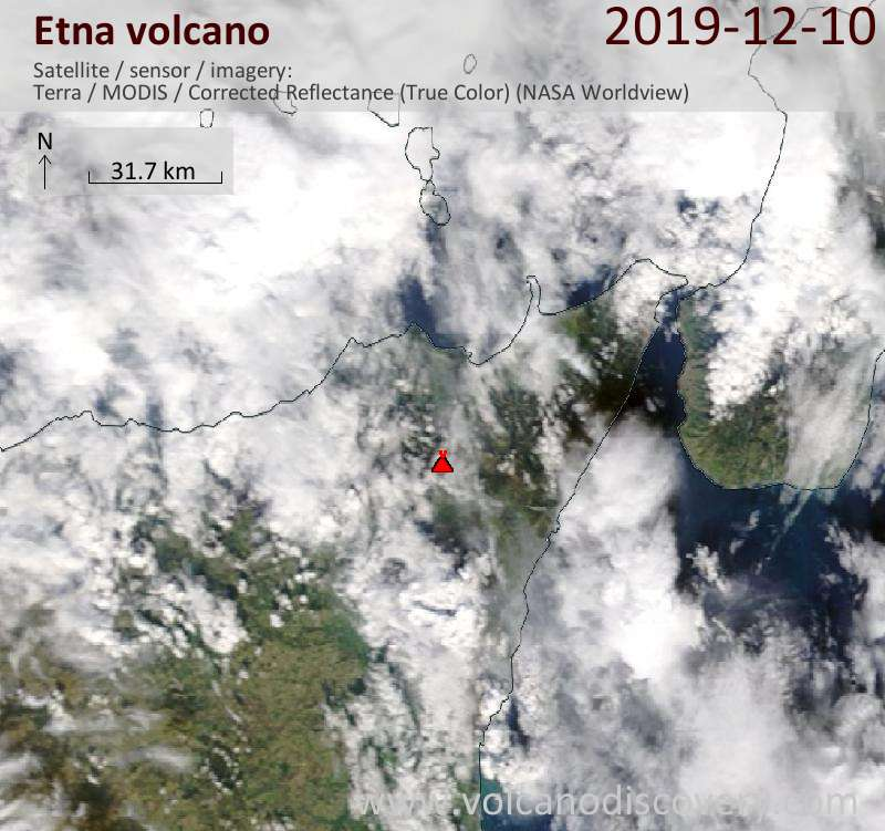 Satellite image of Etna volcano on 10 Dec 2019