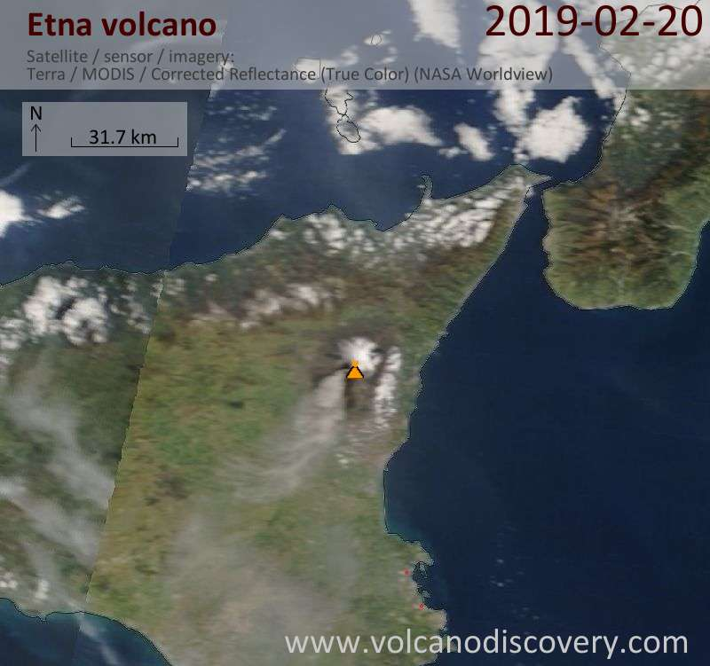 Satellite image of Etna volcano on 20 Feb 2019